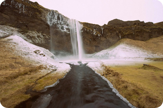 The seljalandsfoss waterfall in Iceland in the winter